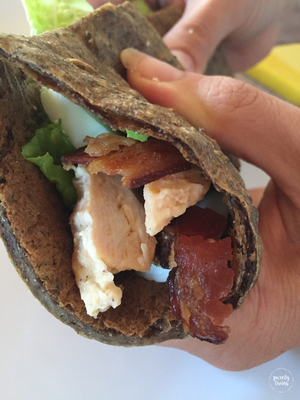 Simple lunch with gluten-free high protein cobb chia seed wrap.