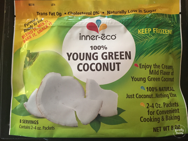 Inner eco young green coconut meat found in the freezer section at Wholefoods.