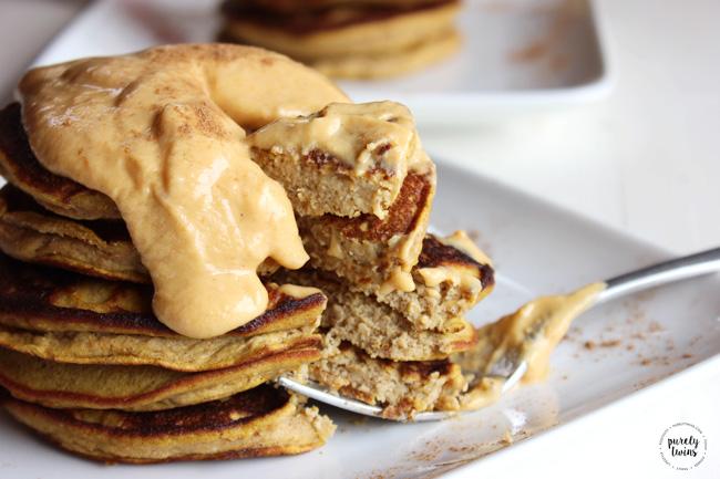 Flourless Pumpkin Plantain Pancakes with pumpkin whipped cream