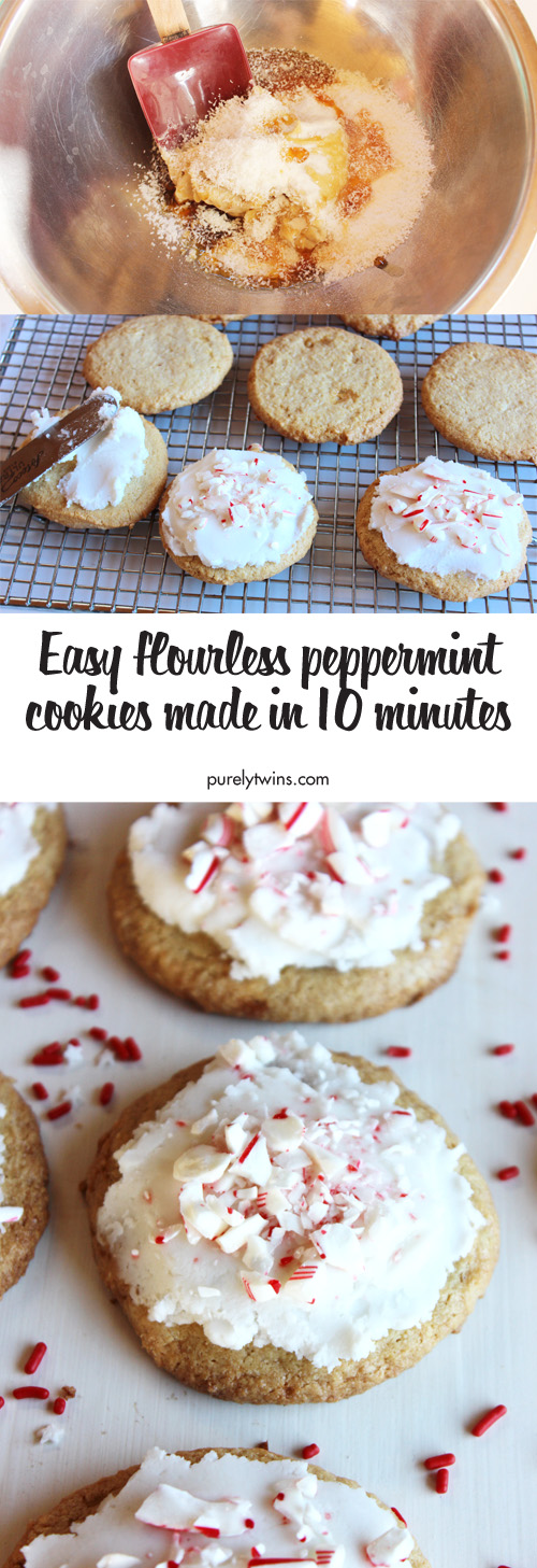 Flourless Peppermint Cookies Made From 7 Ingredients. A Fun Easy And Healthy Christmas Cookie. Gluten-Free Grain-Free Egg-Free And Dairy-Free Cookie Recipe In Just 10 Minutes. Click To Get Follow Along Recipe Video.