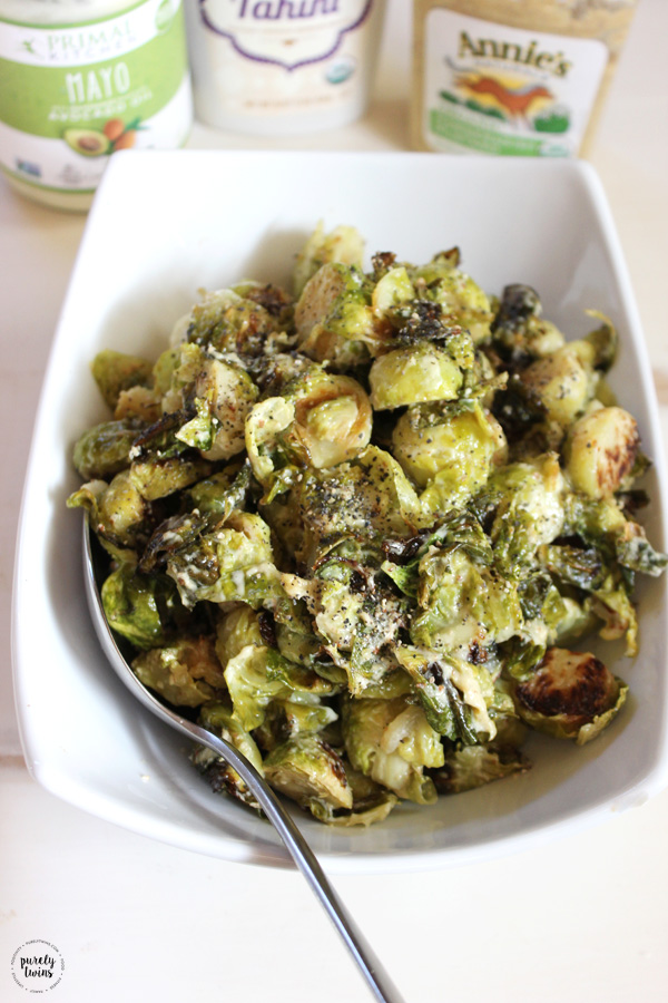 Gluten-free Paleo Creamy Mustard Brussel Sprout Dish. This is the perfect holiday side dish and the great thing for our busy lives, it's so easy to make, you can enjoy it all year! A simple healthy recipes and a fun way to enjoy brussels sprouts.
