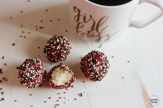NO Bake Holiday Cake Batter Dough Balls and all you need is 5 ingredients plus some sprinkles! They're very quick and easy to make and perfect for a sweet Christmas snack or an edible homemade gift. A yummy delicious holiday gluten-free egg-free recipe.