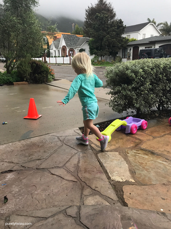 2 year old running around outside
