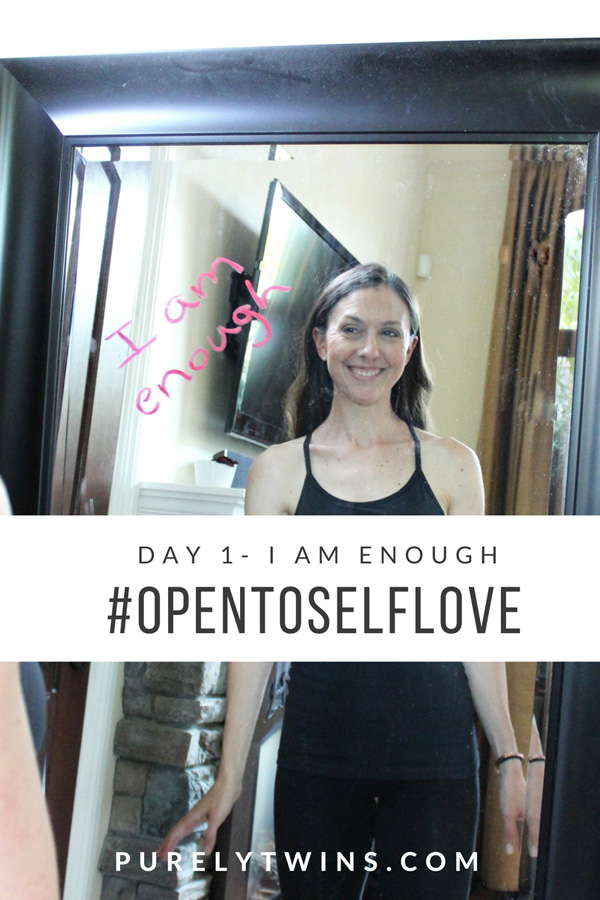 "Day 1 - ENOUGH. #opentoselflove So many of us women don't feel like we are enough (not thin enough, smart enough, pretty enough) that we do self sabotaging things. We did from overexercising to dieting to binge eating. Join us in day one and saying the mantra ""I am enough"" to improve body image and help us love our bodies. Share this with your girlfriends to help us get our message out there that we are all enough."
