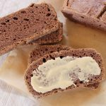 Flourless chocolate protein tahini bread. Made from 8 ingredients.