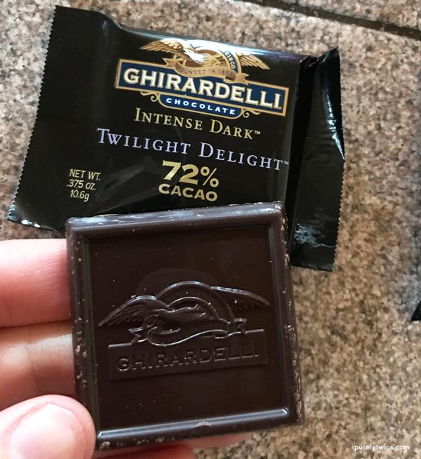 Loving Ghirardelli dark chocolate pieces.