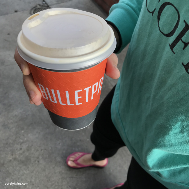 Having bulletproof high fat coffee with ghee and MCT oil in Santa Monica at bulletproof store.