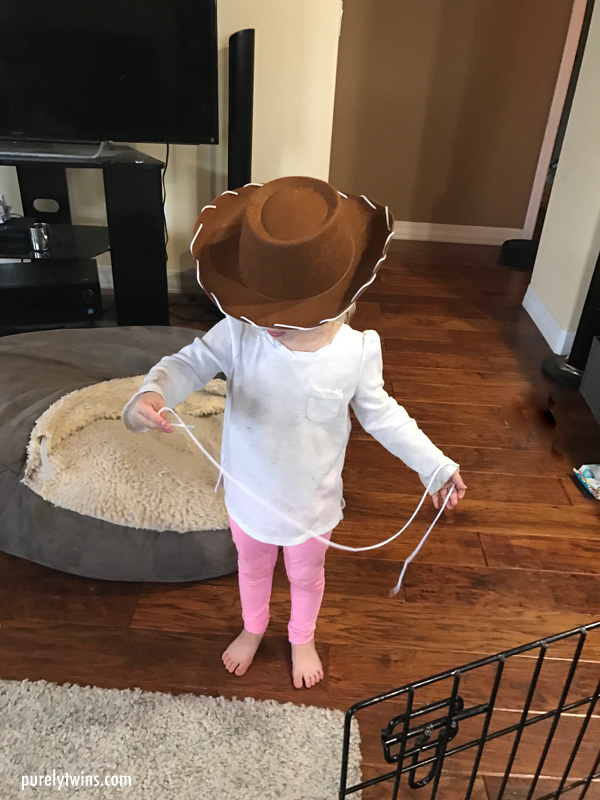 Madison wearing cowboy hat - Disney Woody