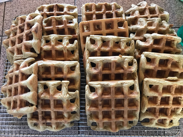 Making gluten-free- grain-free plantain waffles for the whole family.