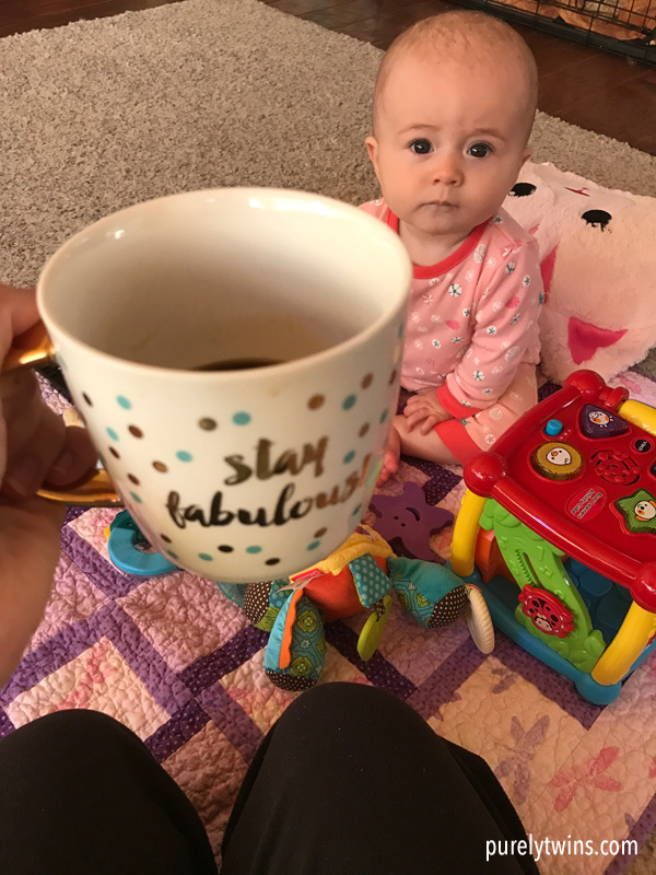 Best coffee cup. Stay Fabulous. Mommy happy cup with baby looking at her.