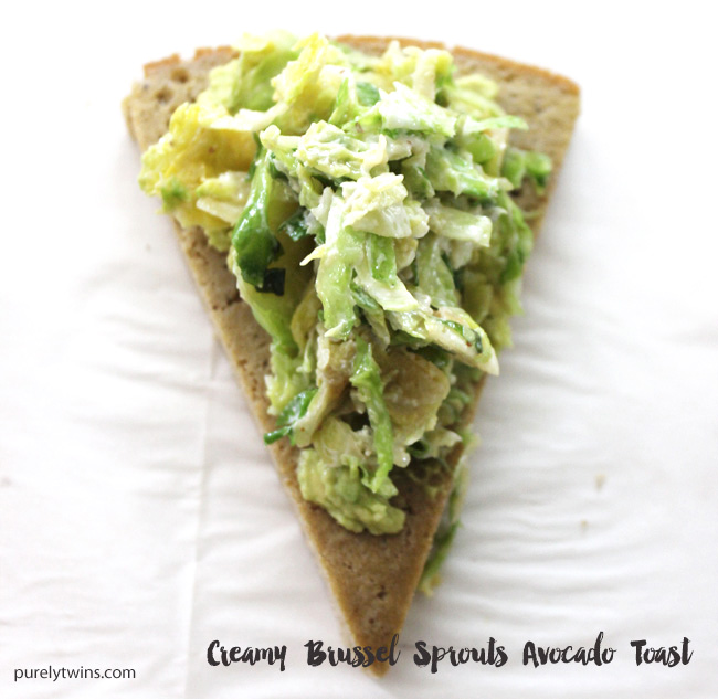 Avocado toast topped with paleo creamy brussels sprouts on plantain bread