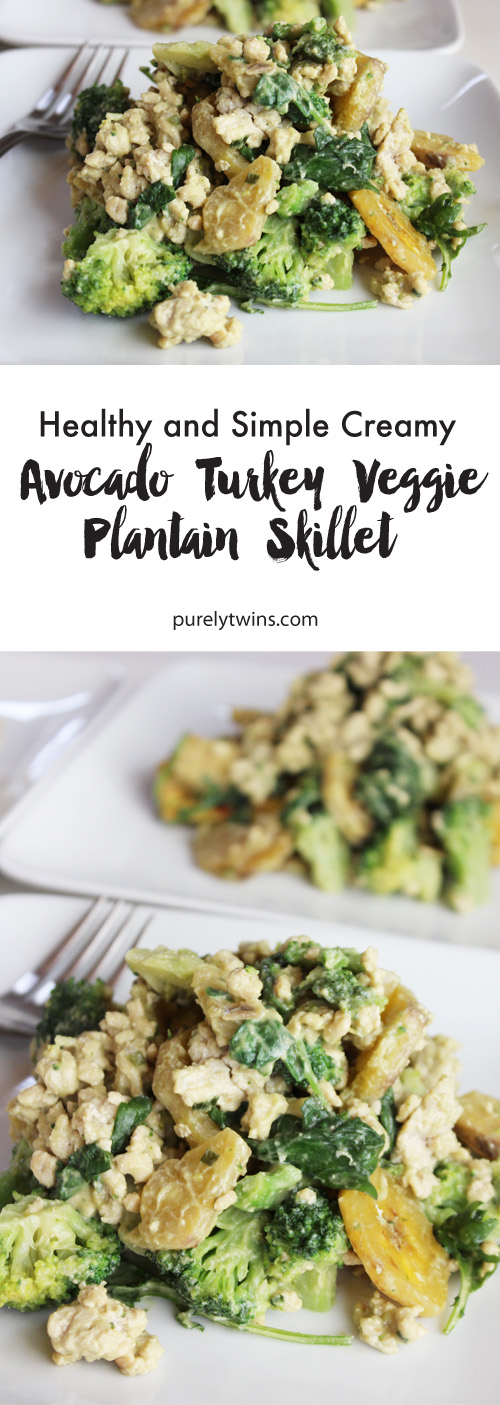 Easy and healthy ground turkey dinner idea. Great for lunches too! Creamy avocado turkey veggie plantain recipe made in under 30 minutes and serves 3-4. It's gluten-free, grain-free and paleo friendly.