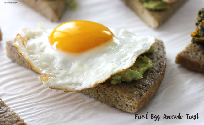 Gluten-free grain-free avocado toast on plantain bread with fried egg.