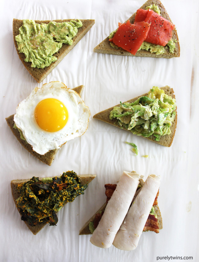 Best Avocado Toast done 6 ways to satisfy any craving. Gluten-free and grain free paleo friendly breakfast, lunch, snack or even a wonderful appetizer ideas. A fun Purely Twins twist using our plantain bread for these avocado toast recipes.