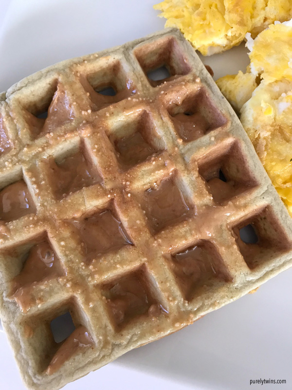 plantain waffle with peanut butter