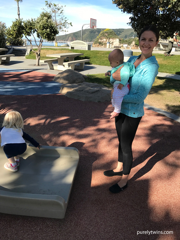 mom and her daughters playing at avilia beach california park