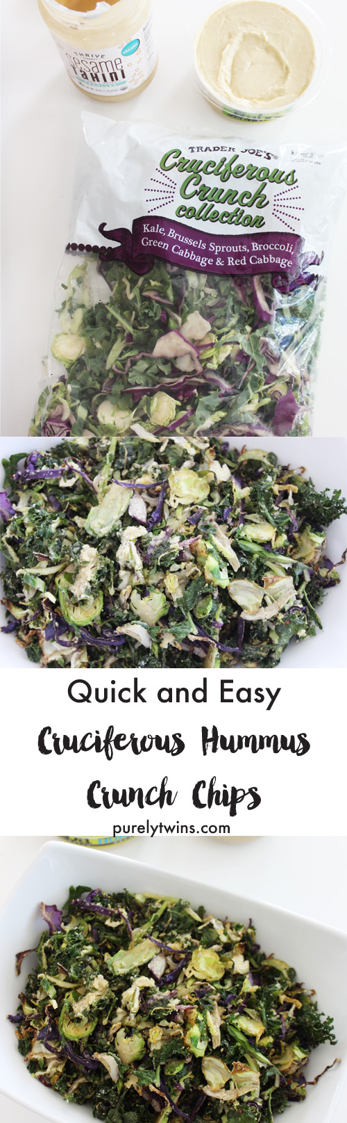 Delicious alternative to the classic kale chip. Super flavorful, cabbage kale slaw mix with a creamy hummus tahini dressing roasted to a light crunch. Perfect recipe for a simple side dish or top with your favorite meat of choice for a nice simple meal.