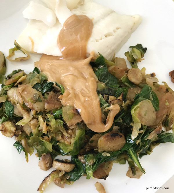 Peanut sauce cod brussels sprout dinner