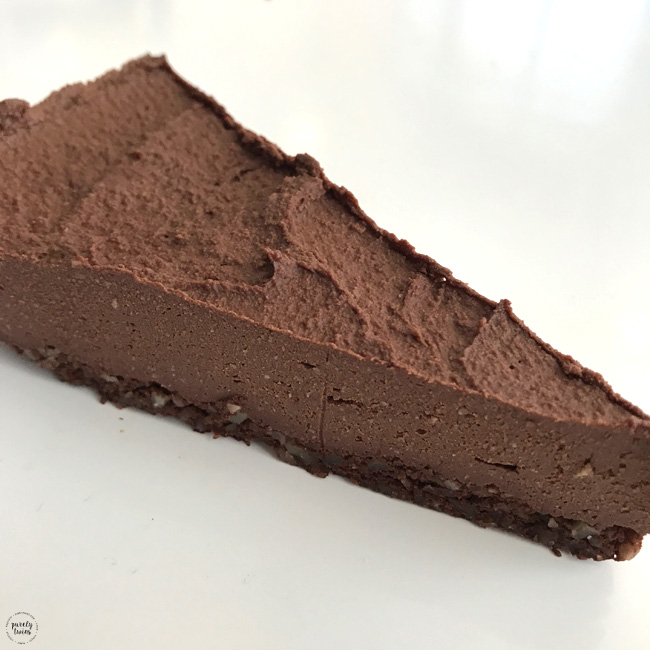 Raw vegan gluten free sugar free chocolate cheesecake.