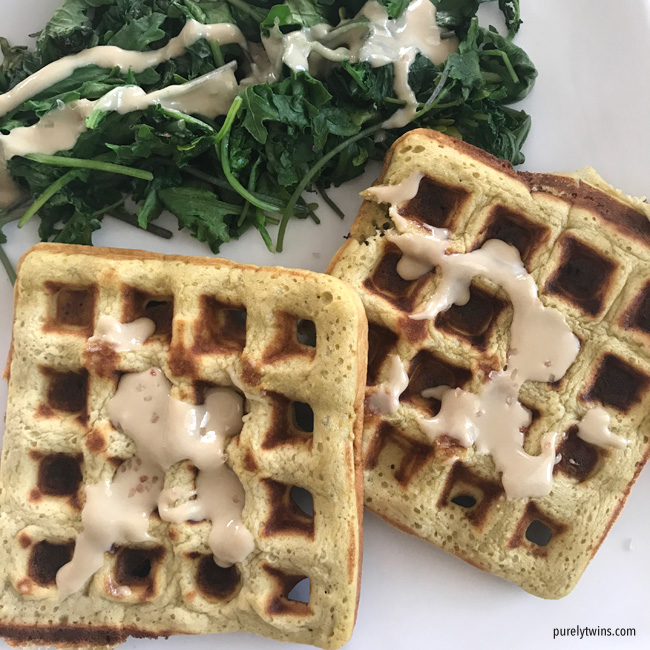 real food paleo meal plantian waffles tahini and greens