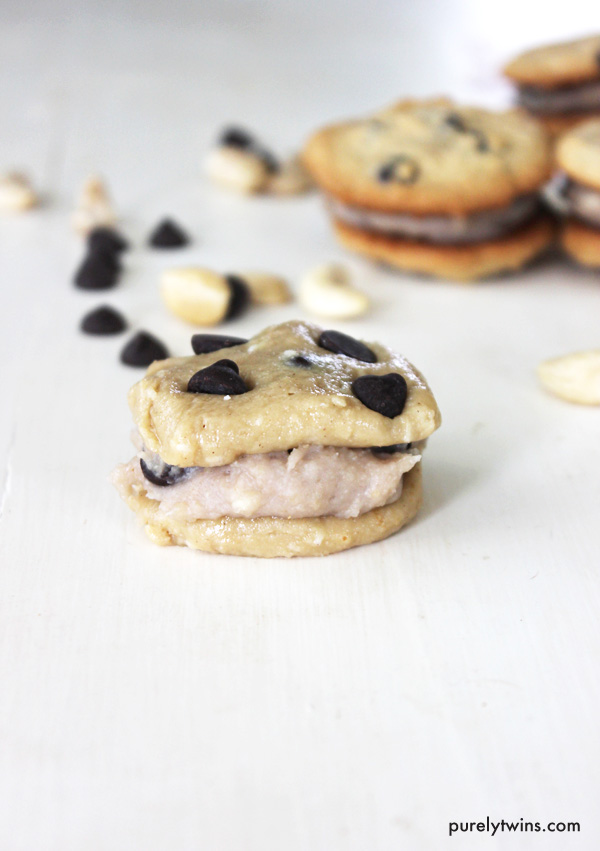 Love raw cookie dough? Check out this easy recipe soft chocolate chip cashew cookies sandwiched together with eggless cookie dough filling. Cookie dough lover's dream! This recipe is gluten-free, egg-free, dairy-free and paleo friendly. It is made from 6 ingredients and made in minutes. If you are looking for a quick dessert this is it.