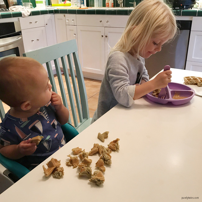 little ones eating plantain waffles purely twins