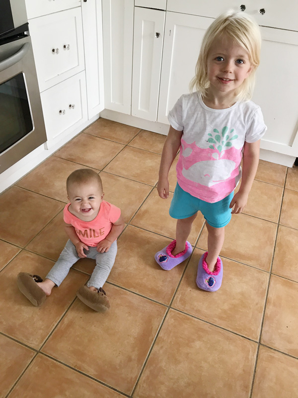 lyla and madison wearing slippers