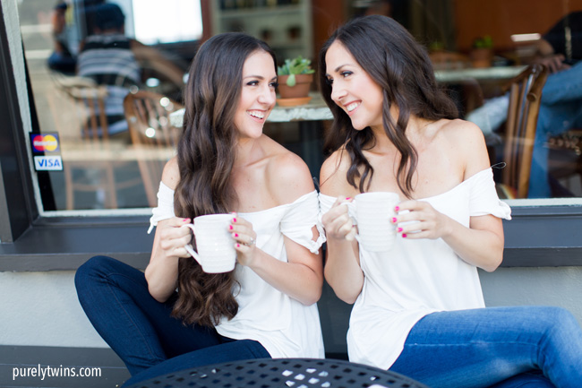 Purely Twins Coffee shop pictures. Fitness lifestyle self love brand. Asia Croson Photography. Shell Beach.