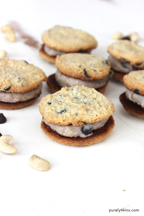 If you love cookie dough and chocolate chip cookies, you're going to flip for today's cookie dough sandwiches! They're easy to make, fun to eat, and will be the best sandwich you'll ever have. No gluten. No eggs. No dairy. Paleo friendly dessert.