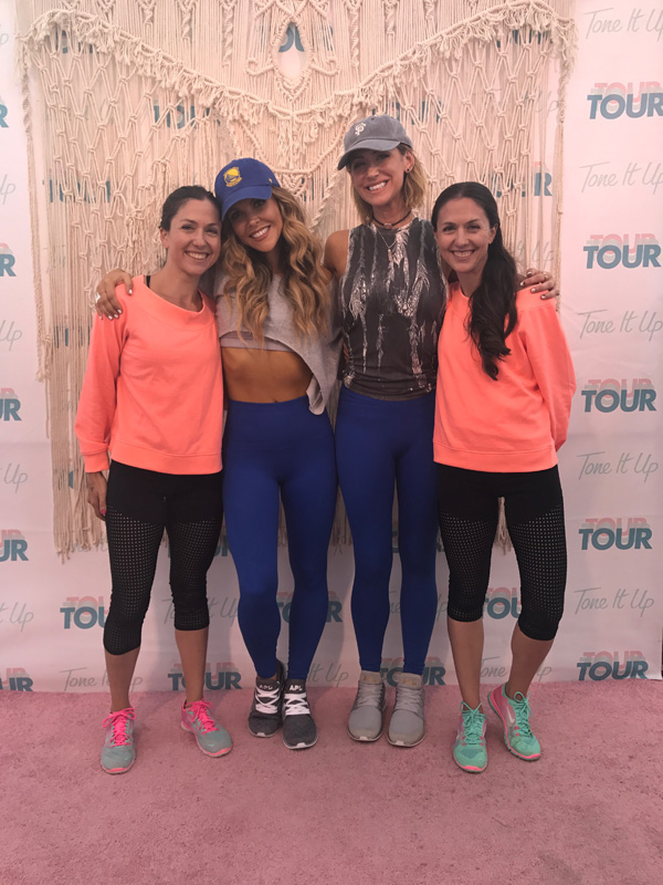 Meeting Katrina and Karena at the #tiutour from Tone It Up. Sharing our experience working out with them and Jillian Michaels.
