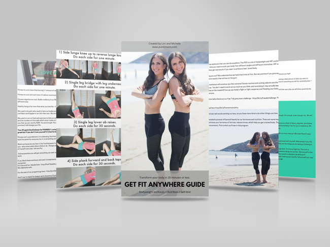 Get Fit Anywhere is your portable PDF of workouts based on high intensity bodyweight training. You can do these workouts anywhere anytime. Yep workouts designed with you in mind - short, effective, and fun! Total body workouts you can do anywhere to get toned and firm without bulking up in under 25 minutes a day. We help spiritual female entrepreneurs ditch dieting and long workouts so they can feel sexy in their clothes and get noticed. It's time to up level your body to up level your business. We help you tone up your body and feel more comfortable in your skin. Ditch the gym - 30 bodyweight workouts to transform your body and mind and realign with your soul. Stay fit no matter where you are.