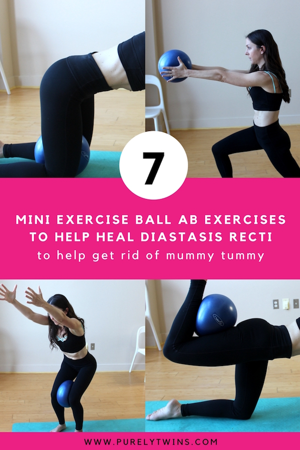If you have a mummy tummy postpartum these exercises will help flatten and strengthen your core in a safe way. I personally suffered from diastasis recti postpartum so I know the frustration to have your abs back after baby. So many are doing the wrong exercises to get flat tummy. These ones are great exercises to target your deep core strength to heal diastasis recti using a mini exercise ball. The mini exercise ball is a great fitness piece of equipment that is affordable and really helps with core activation. Go here to start today.