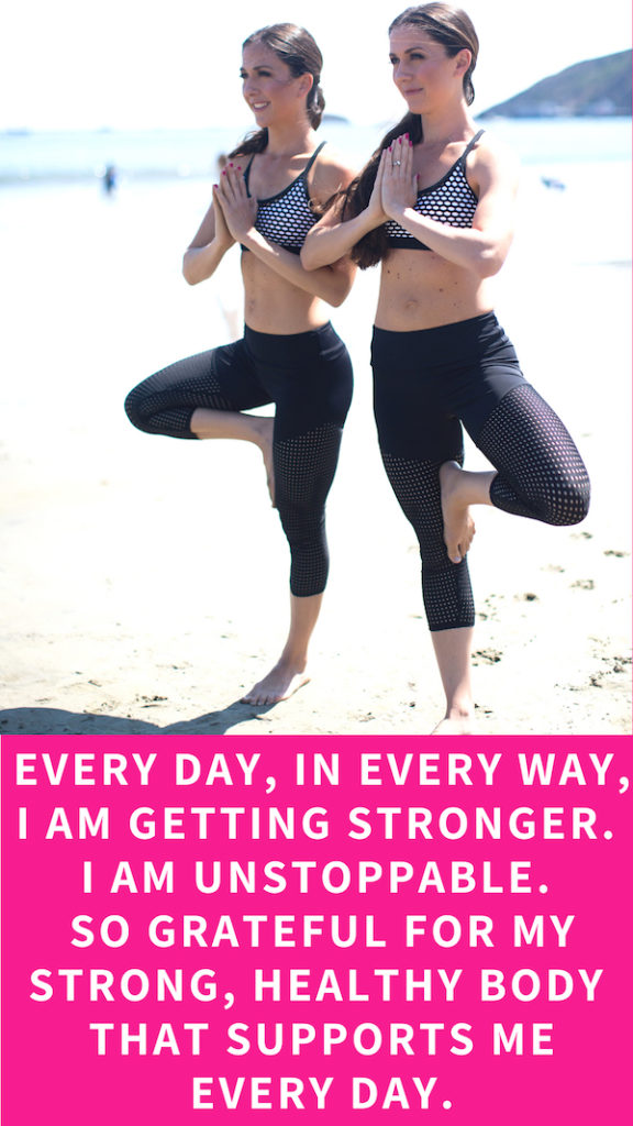 Every day, in every way, I am getting stronger. I am unstoppable. So grateful for my strong, healthy body that supports me every day. Positive affirmations to uplift the mind for better body image and self talk.