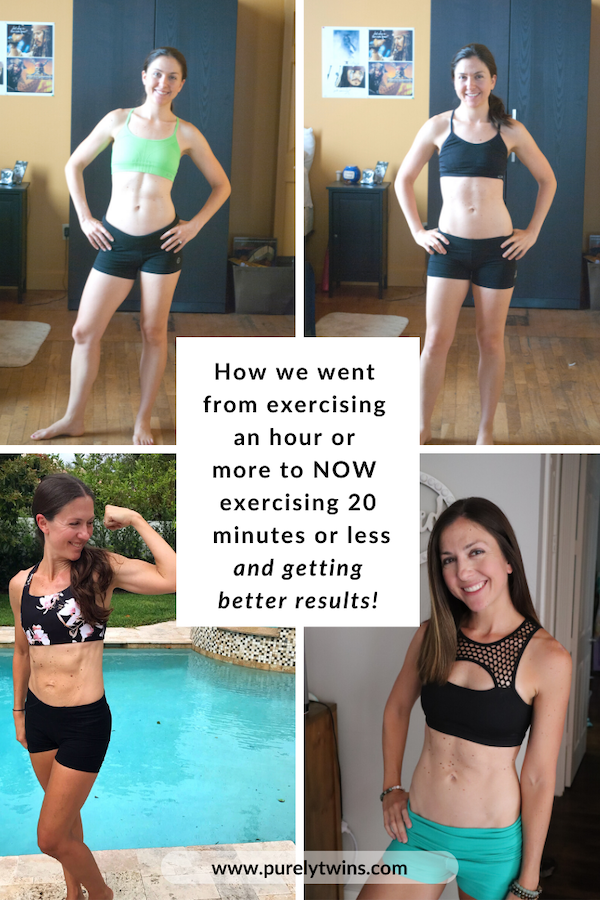 How we went from exercising an hour or more 7 days a week to NOW exercising 20 minutes or less 5 days a week. Sharing our fitness journey of overexercising to short workout lovers. We are working out less and looking better than ever and you can too. #fitness #motivation #healthyhabits