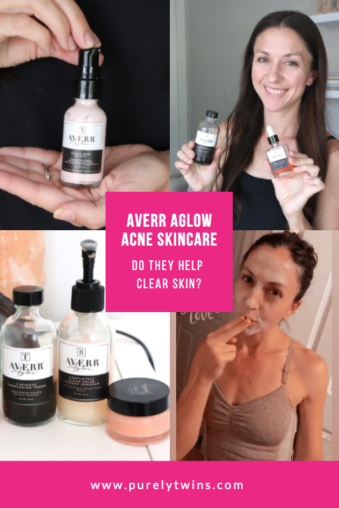 Averr Aglow skincare review for clearing up skin acne and blemishes. Are they worth it? Do they clear skin? Sharing our personal thoughts coming from two girls who suffered from adult acne. #beauty #skincare #acne #clearskin #hormonalacne